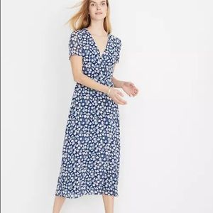 Madewell wrap front midi dress French floral 0689